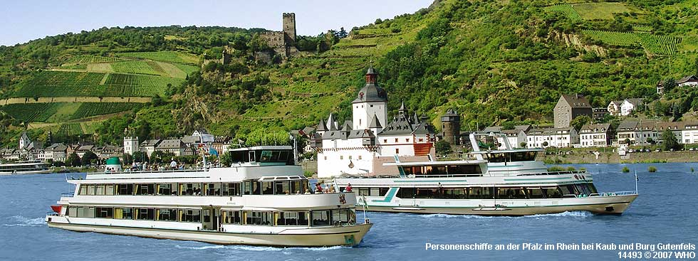 Boat cruise along castle Pfalz in the Rhine River near Kaub